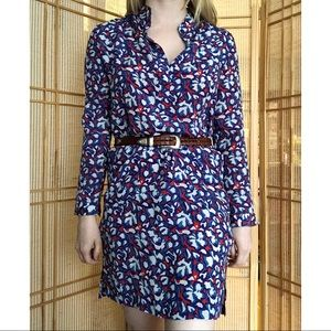 Tucker Red and Blue Pattern Silk Dress